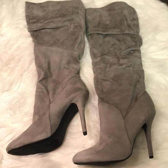 Jennifer Lopez Shoes Kohls Audrey Boots Grey Suede Poshmark